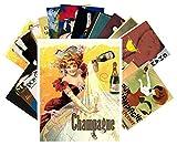 Postcard Pack 24pcs Champagne Art Deco Poster Ads Vintage Alcohol Wine Adverts