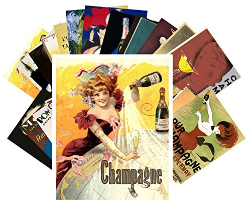 Postcard Set 24 cards Champagne Art Deco Poster Ads Vintage Alcohol Wine Adverts