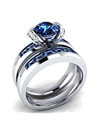Dream Jewels 1.50 ct Lab Created Blue Sapphire & Cz Diamond Bridal Ring Set, 2 Piece Alloy in 14k White Gold Over Engagement Wedding Ring Set