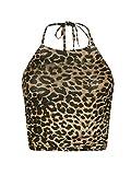 Ladies Halter Neck Back Tie Crop Top Womens Plain Print Sleeveless Fancy Blouse Brown Leopard Small/Medium