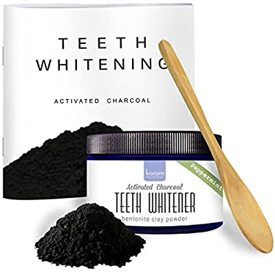Activated Charcoal Natural Teeth Whitening Powder - Peppermint Flavored 3.5 oz | Use Tooth powder as or with Toothpaste | With Detoxifying Bentonite Clay | Non-Porous Spoon | FREE Booklet