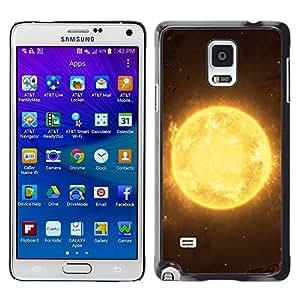 TECHCASE**Cubierta de la caja de protección la piel dura para el ** Samsung Galaxy Note 4 SM-N910 ** Sun Star Yellow Space Universe Burning Planet