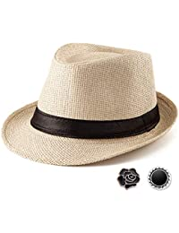 b5038fcb39341 Fedora Hat Mens Fedora Hats for Men Trilby Hat Straw Sun Hat Panama Hat  Reducer