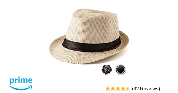 2536a19b Beach Straw Sun Hat Women - Beige Hat for Men Summer Casual Fedora Hat with  Band at Amazon Men's Clothing store: