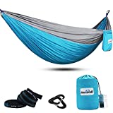 Mersuii Lightweight Portable Nylon Hammock for Backpacking,Double Camping Hammock with Tree Straps,Parachute Hammock for Travel, The Beach and Your Backyard (Sky Blue)