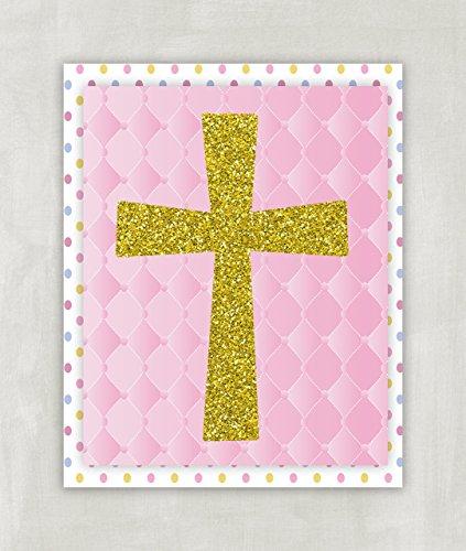Amazon Com Gold Glitter Cross Wall Art Baby Pink White Baby Girl