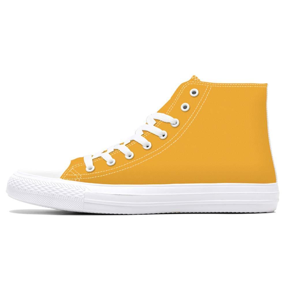 HhGold HhGold HhGold Mens Casual Schuhe Frühling High Top Canvas Benutzerdefinierte 3D Gedruckt Jugend Feste Männer Turnschuhe (Farbe   Gelb, Größe   2.5=35 EU) b2c2bc