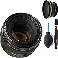 Canon 50mm 1.4 Portrait Lens + Deluxe Lens Cleaning Pen + Deluxe Lens Blower Brush + High Definition Wide Angle Auxiliary Lens