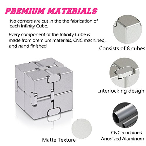Solid Aluminum Alloy Material Fidget Cube in Style with Infinity Cube Pressure Reduction Toy, Infinity Turn Spin Cube EDC Fidgeting for ADD, ADHD, Anxiety, and Autism Adult and Children.