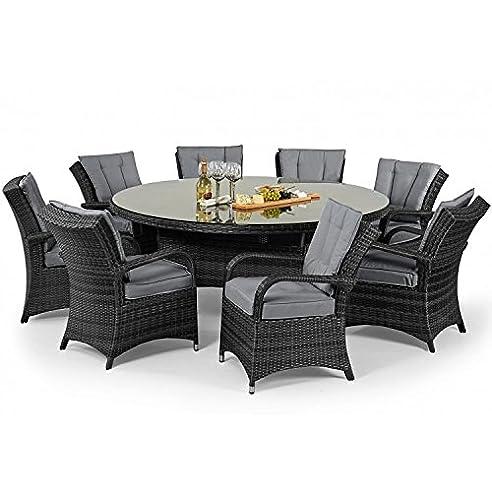 Amazon.de: Tyler Rattan Garten Möbel grau 8 Sitzer rund Tisch Set