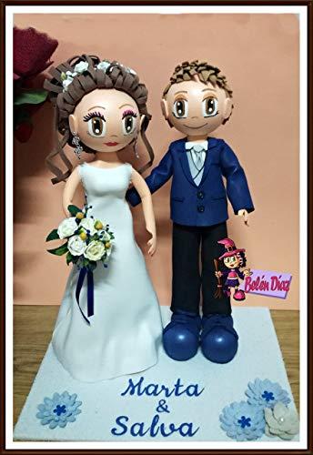 Fofuchos novios boda tarta nupcial 35 cms.