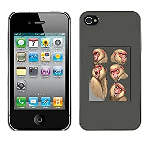 [Neutron-Star ] Snap-on Series Plastic Back Case Shell Skin Cover for Apple iPhone 4 / iPhone 4S / 4S [Ape Monkey Sketch Drawing Grey Animal]