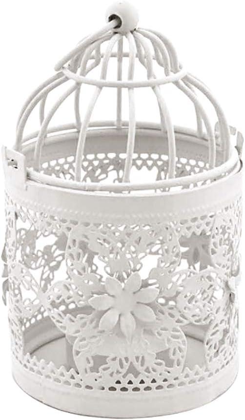 Kuizhiren1 Bougeoir cr/éatif Vintage Creux en m/étal Blanc /à Suspendre en Forme de Cage /à Oiseaux M/étal d/écoration r/étro Romantique pour f/ête de Mariage d/écoration dint/érieur Blanc