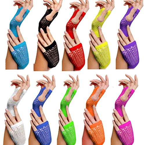 Ganenn to Be Amazing Girls!10 Colors Short Mesh 80s Style Disco Dance Costume Lace Fingerless Mesh Fishnet Gloves Party Accessories Cool Gloves (Blue) -