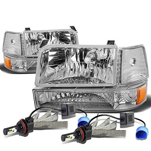 For Ford F-150 Branco 5th Gen 6Pc Chrome Housing Amber Corner Headlight + 9007 LED Conversion (Gen 5 Conversion)