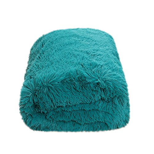 CaliTime Super Soft Blanket Throw for Couch Sofa Bed Elegant Cozy Plush Warm Faux Fur Solid Color 60 X 80 Inches Teal