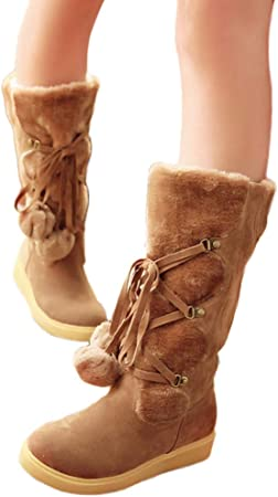 ZHRUI Chaussures pour Femmes Bottes de Neige Chaudes et