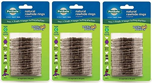 (Pack of 3) PetSafe Busy Buddy Refill Ring Dog Treats for Select Busy Buddy Dog Toys, Natural Rawhide by PetSafe (Image #1)