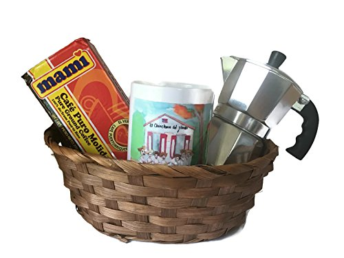 Puerto Rican Coffee Lovers Bundle Gift Basket with Café Mami, Imusa Stovetop Coffee Maker and Artisan Mug (4 Items)