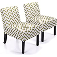 JAXPETY Leisure Armless Accent Chair Wave Print Fabric Armless Living Room Bedroom Office Contemporary Sofa (Set of 2)