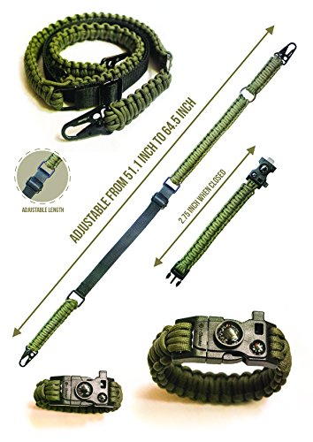 Traditional 2-Point 550 Paracord Rifle Sling | Two Point Gun Shoulder Strap | Durable & Adjustable | Bonus Survival Bracelet | Ideal For Tactical Shooting, Hunting& Emergency Situations (Green)