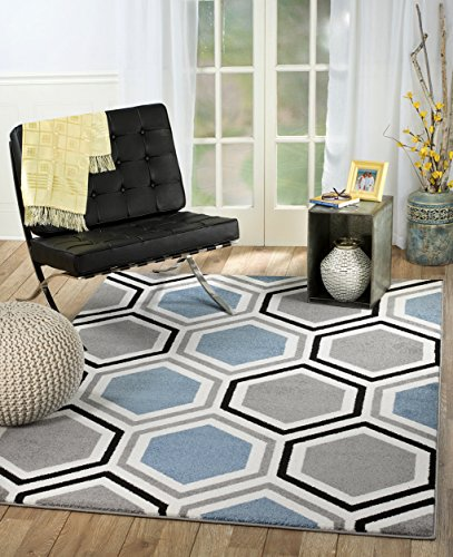 SUMMIT BY WHITE MOUNTAIN Rio DZ-6D53-UMYT Summit 313 Grey Blue White Area Rug Modern Geometric Many Sizes Available (3'.6