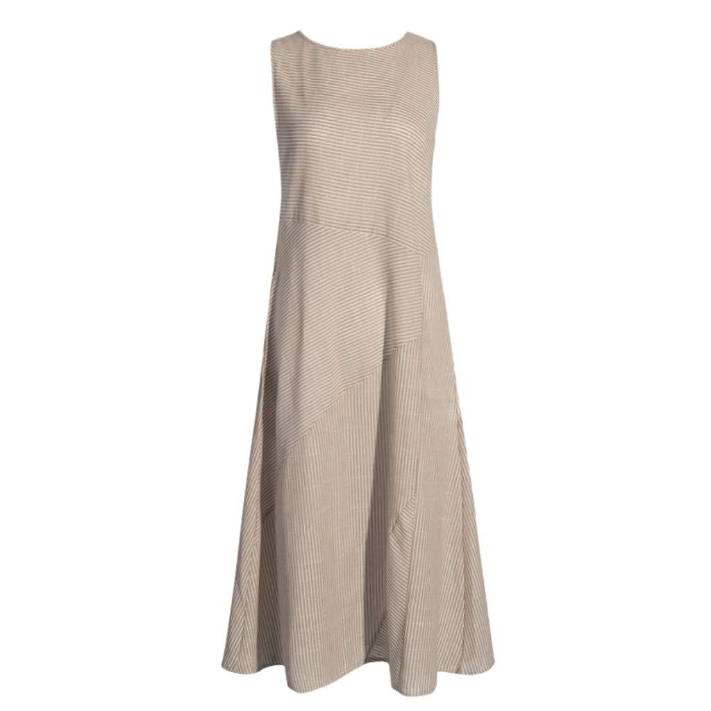 Woman Dress Jaminy Women Casual Striped Sleeveless Dress Crew Neck Linen Pocket Long Dress