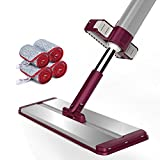 Flat Mop, with 4 Microfiber Cloth and Hand-Free, Can Automatic Rebound, Easy to