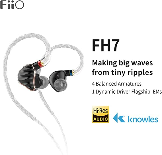 FiiO FH7 5-Drive (1DD + 4BAs) Hybrid in-Ear Earphones/Headphones with DIY Sound Filters