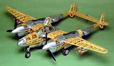 "Guillow's 2001 P-38 Lightning WWII US Fighter Aircraft 1/16 Scale, 40"" Wing Span Model Kit"