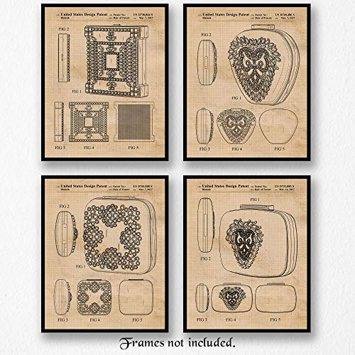 Original Manolo Blahnik Handbag-Clutch Patent Poster Prints - Set of 4 (Four) 8x10 Unframed Pictures - Great Wall Art Decor Gifts for Home, Office, Studio, Fashion House, Designer, Showroom, Students