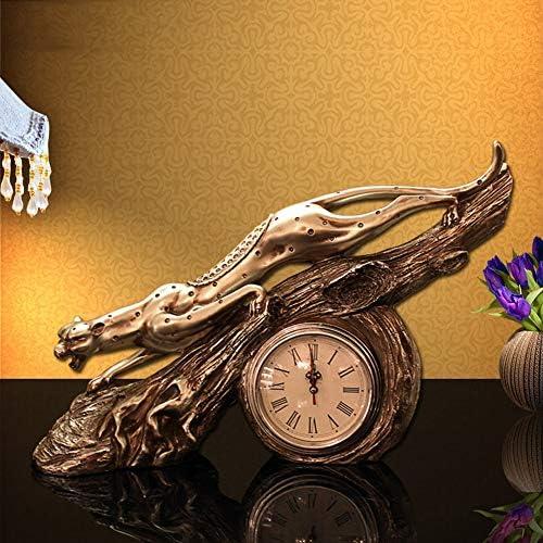 ヨーロッパヒョウクロック時計装飾家の装飾ディスプレイ研究寝室クリエイティブ実用的な工芸品装飾芸術的な時計装飾品 正確な時間