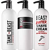 Beast Sizes Set - 1 LITER of SHAMPOO, BODY WASH & SHAVE CREAM - Eucalyptus Tea Tree Tingle Shampoo All-in-1 Yawp Men's Body Wash Slick Whole Body Shaving Cream 32 ounce sizes - by Tame the Beast