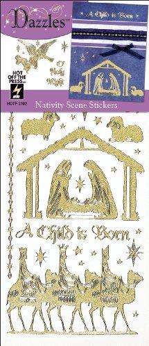 Dazzle Stars Stickers (Hot Off The Press Dazzles Stickers -Nativity Scene Gold Pearl)