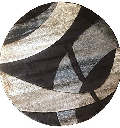 (Sculpture Modern Round Area Rug Chocolate Brown Blue & Beige Contemporary Design 248 (5 Feet 6 Inch X 5 Feet 6 Inch Round))
