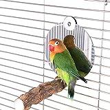 S_HomeStore Hanging Bird Bath, Bird Bathtub Cube Bath Shower Box Bowl with Metal Hooks for Little Birds Canary Budgies Parrot (Bird Mirror)