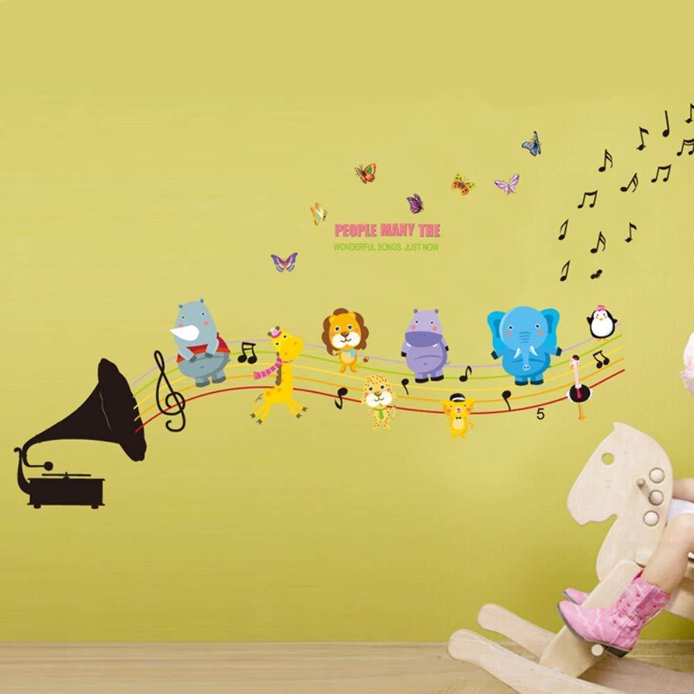 /& Phonographe Musique Zoo Animaux Stickers Muraux Lion /Él/éphant Danse Stickers Muraux D/écor /À La Maison Pour Bricolage Enfants Chambres Chambre Chambre Maternelle