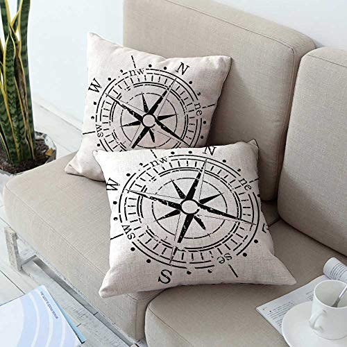 Ediyuneth Decorative Square Accent Pillow Case Compass,Black and White Windrose with Simplistic Design Direction Navigation Primitive,Black White 18