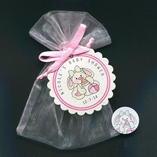 Personalized Baby Shower Favor Candy Bag Sets for Baby Girls, Bunny with Bottle, Set of 20 ()