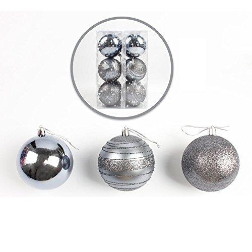 Lanhui_Exquisite 12pcs Christmas Tree Xmas Balls Decorations Baubles Party Wedding Ornament (A: 6cm, Silver)