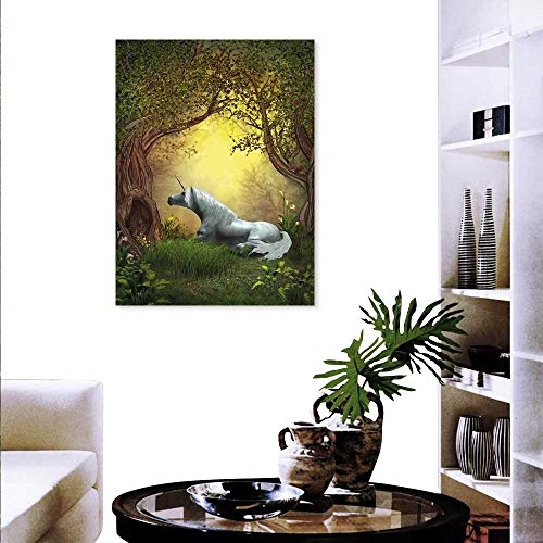 Anyangeight Unicorn Canvas Wall Art Bedroom Home Decorations Enchanted Forest Fantasy Magical Willow Trees Wildflowers Woodland Animal Folklore Art Stickers 24