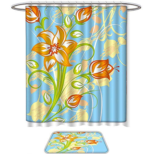 QINYAN-Home Pattern Printing Suit Floral Tiger Lily in Retro Vibrant Colors Essence Buds Florets Picture Light Yellow Orange Sky Blue. Bath Towels Sets(Ten Sizes Select) (Drapes Tiger Lily)