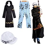 HALLE ワンピース トラファルガー・ロー 二代 風 コート+ズボン+帽子 コスチューム 黒 青 Mサイズ