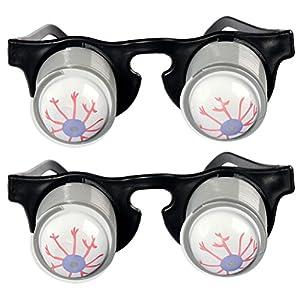 TOYMYTOY 2pcs Pop Out Eye Glasses Spring Eyeball Glasses Party Joke Horror Shock Toy