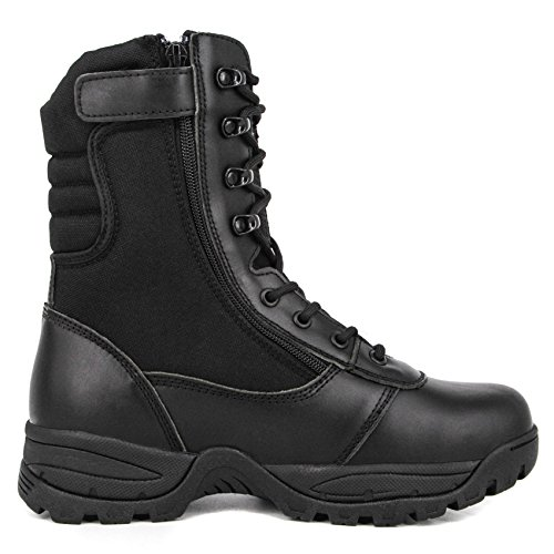 Milforce Men's 9 inch Military Tactical Boots Lightweight Police Duty Work Boots with Side Zipper, Black