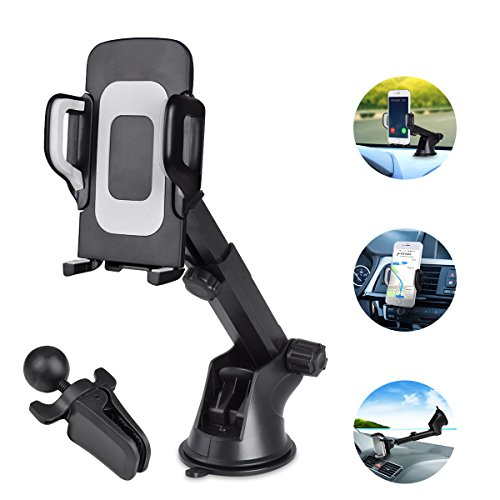 Car Phone Mount 3-in-1 Windshield,Dashboard,Air Vent Car Phone Holder Windshield Phone Mount Cell Phone Holder for Car Universal Phone Holder Compatible Samsung S8 S9