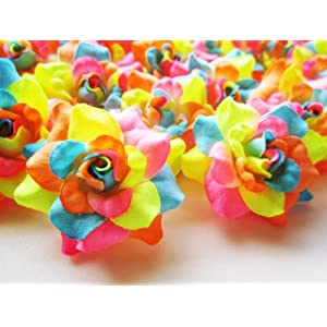 "(24) Silk Neon Roses Flower Head - 1.75"" - Artificial Flowers Heads Fabric Floral Supplies Wholesale Lot for Wedding Flowers Accessories Make Bridal Hair Clips Headbands Dress 19"