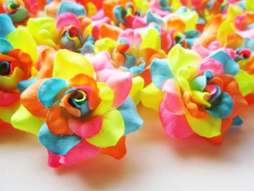 (24) Silk Neon Roses Flower Head - 1.75