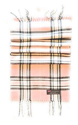 100% CASHMERE SCARF - PINK & BLACK PLAID - MADE IN SCOTLAND (Pink & Black Plaid)
