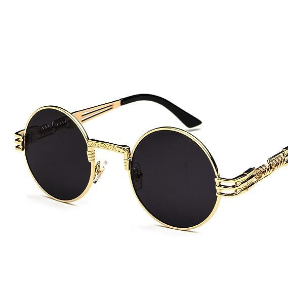 23f50edb4e Vintage Round Sunglasses Men Black Retro Punk Sun Glasses Women Summer 2018  (gold with black): Amazon.ca: Clothing & Accessories